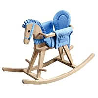 Teamson Kids Wooden Traditional Safari Natural Rocking Horse Rocker Seat with Blue Pad Nursery Toy