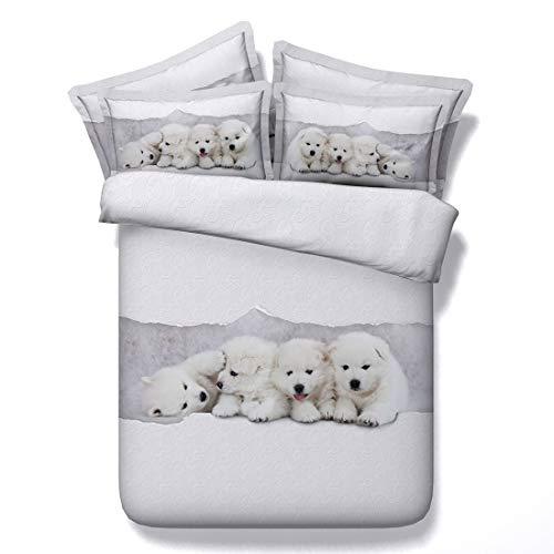 Thjt set biancheria da letto di stampa 3d per cani set da letto per bambini in microfibra morbido set di 3 copripiumini, 2 federe (colore : e, dimensioni : 225cmx240cm)