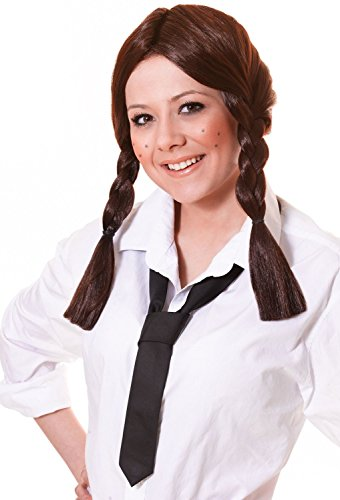 Ladies Mens Brown Brunette Adult Plaited Bunches School Girl Fancy Dress Costume Outfit Wig (Brown)