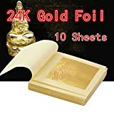 #5: 10 Sheets Gold Foil Leaf 100% 24K For Food Anti-Aging Facial Spa Craft Gilding