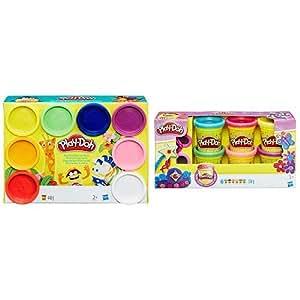 Hasbro Play-Doh A7923EU6 - Regenbogen, 8-er Pack &  Play-Doh A5417EU7 - Glitzerknete, Knete