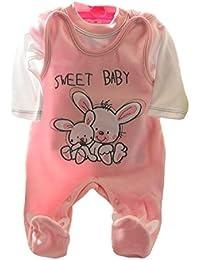 Nicki Babyset Taufanzug Strampler 3-teilig Set Mädchen Rosa 56 62 68 Prinzessin