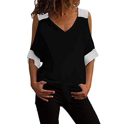 Preisvergleich Produktbild Yvelands Frauen-beiläufige Kurze Hülsen-Kalte Schulter-V-Ansatz-Sommer-Lose T-Shirt-Blusen-T-Stück