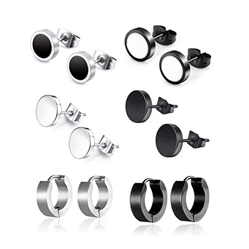 Leaptech Edelstahl Herren Ohrstecker Creolen Tunnel Ohrringe für Damen Fakeplug Fake Plug Ohrringe Edelstahl Herren Pierced Earrings Schwarz Stainless Steel Mens Womens Stud Earrings Set ()