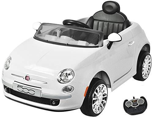 MamaLoes Eco Toys Fiat 500 Kinderelektroauto, elektrisches Kinderauto, Kinderfahrzeug, weiß, mit Fernbedienung