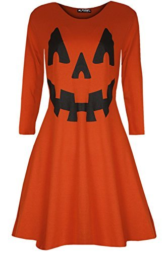 Oops Outlet Damen Pumpkin Halloween Kostüm Kittel Party ausgestellt Mini Swing Kleid - Kürbis Orange, M/L (UK (Kostüm Halloween Kittel)