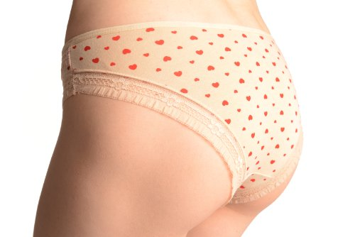 Soft Cotton With Small Printed Hearts High Leg Brazilian - String Einheitsgroesse (34-36) Beige