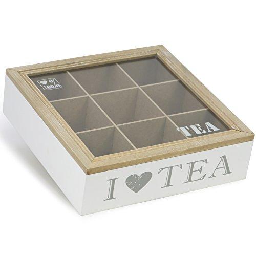 com-four® Aufbewahrungsbox für Tee und Teebeutel, weiße Teebox aus Holz mit braunem Deckel, 9 Fächern und Sichtfenster aus Glas, 24 x 6,9 x 24,3 cm (01 Stück - 24x6.9x24.3cm - weiß)