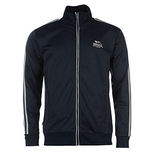 Lonsdale - Chaqueta deportiva casual con cierre de cremallera para hombre azul/gris Large