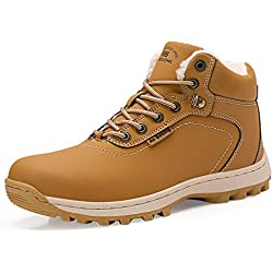 AX BOXING Hombre Botines Zapatos Botas Nieve Invierno Botas Impermeables Fur Forro Aire Libre Boots (47 EU, A7445-Amarillo)