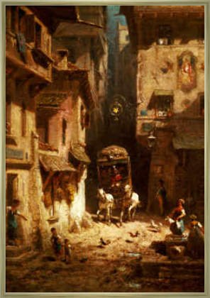 framed-picture-carl-spitzweg-the-post-48-x-69-aluminium-classic-gold-polished