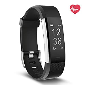 Fitness Tracker HR, Delvfire Activity Tracker Watch and Heart Rate Monitor, Waterproof Touch Screen Smart Bracelet for Women, Men, Kids with Sleep Monitor, Pedometer Step Calorie Counter iPhone (Black)