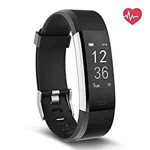 Delvfire Pulse HR Fitness Tracker Activity Watch and Heart Rate Monitor, Waterproof Touch Screen Smart Bracelet for Women, Men, Kids with Sleep Monitor, Pedometer Step Calorie Counter iPhone (Black)
