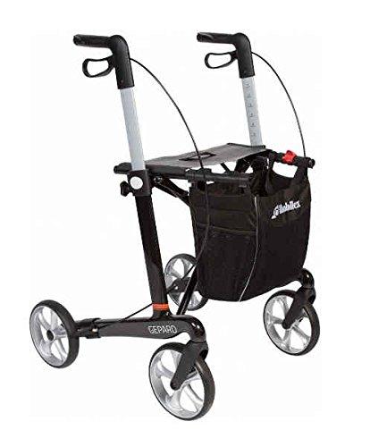 Premium Rollator Mobilex Gepard, Kohlefaser Carbon, faltbar, mit Vollausstattung, Tasche, Stockhalter, Sitz, Carbonrollator bis 150 kg
