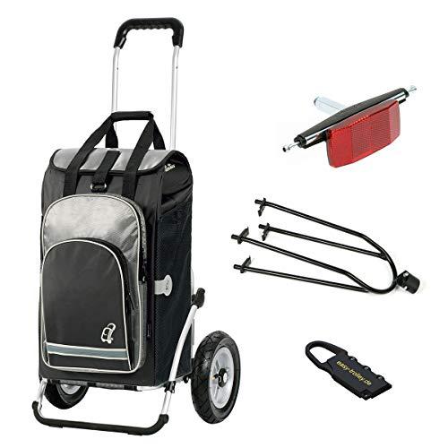 Andersen Einkaufstrolly Royal luftbereift mit Fahrrad Anhängerkupplung für Gepäckträger und 60 Liter Einkaufstasche Hydro schwarz mit Kühlfach