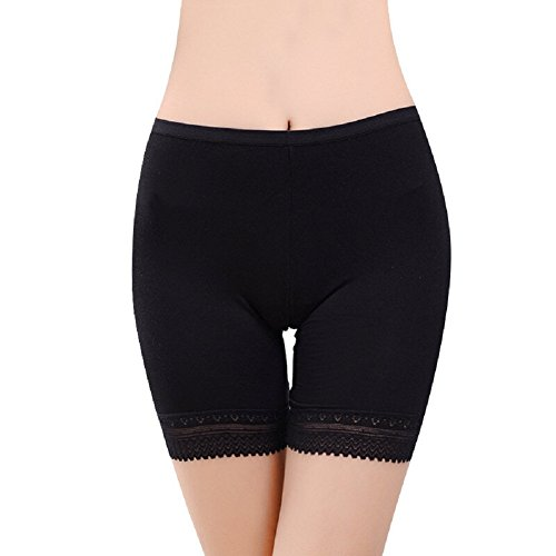 Damen Leggings Slip Lang Bein Schlüpfer Unterwäsche Sicherheits Shorts Ultrasoft Hipster Longshorts Hipster Panties mit Spitze(Schwarz)