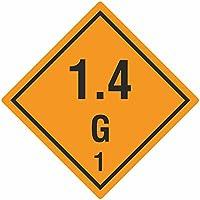 Gefahrgutaufkleber - Klasse 1 - Explosive Stoffe (1,4 - G - 1) - 100 x 100 mm - 100 Gefahrgutetiketten, Vinyl Folie, orange, permanent haftend