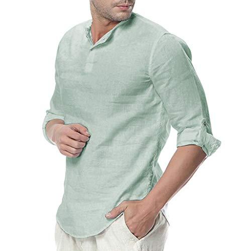 Storerine Mens Leinen Taste Hülse mit DREI Vierteln Custom lose Übergröße T-Shirt Bluse Nepal Fischerhemd Goa Hippie, Herren, Baumwolle, Männerhemden Bekleidung