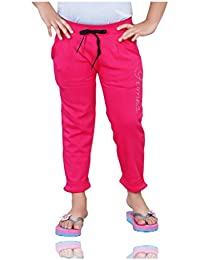 Mint Pink Cotton Girl's Ankle Track Pant