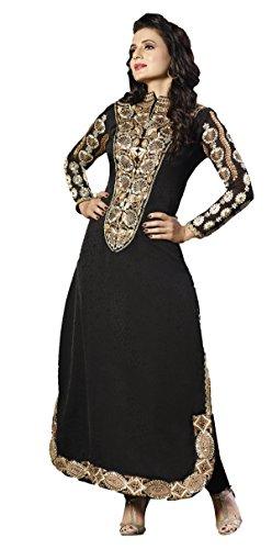 Adah Fashions Womens Georgette Anarkali Dress Material (591-8004 -Black -Free Size)