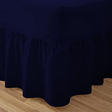 Lenzuolo in tinta unita, con angoli alla mantovana in cotone e poliestere, per letto matrimoniale, Misto cotone, Nevy Blue, King