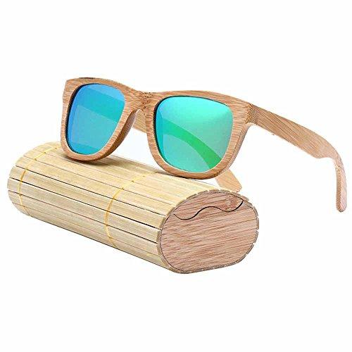 """Gafas de sol polarizadas para hombre y mujer estilo """"vintage"""" con montura de bambú y caja de almacenamiento verde verde"""