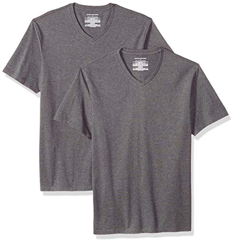ddf1735e1c Amazon Essentials 2-Pack Slim-fit V-Neck T-Shirt Camiseta, Gris (Charcoal  Heather Cha), US M (EU M)