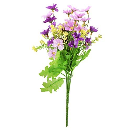 Ein Bündel gefälschte Cineraria künstlichen Blumenstrauß Hause Büro Dekor (Fuchsia und Lila)