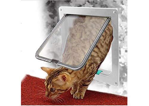 Zll Katzenklappe Pet Door Large 4-Wege-Verriegelung Klassische Katzenklappe Microchip Pet Door Einfache Montage Pet Door Tunnel Extender für alle Haustiere,White,L