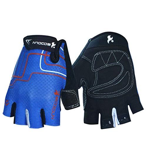 MISS&YG Radhandschuhe halb Finger Mountainbike Handschuhe Radausrüstung atmungsaktive Rutschfeste Stoßdämpfung,Blue,L