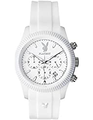 Playboy CHRP44WW - Reloj de pulsera hombre, silicona, color blanco