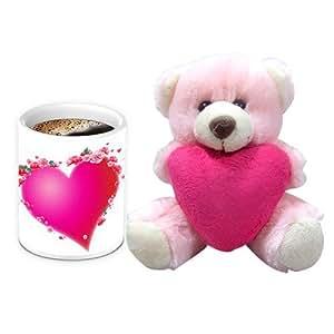 Valentine Gift for Friend - HomeSoGood Ohh! My Heartbeat White Ceramic Coffee Mug With Teddy - 325 ml