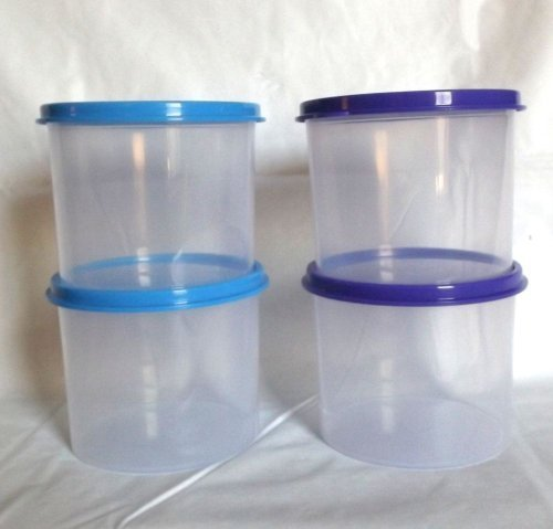 Tupperware Mini Canister Set Clear with Blue and Purple Seals by Tupperware