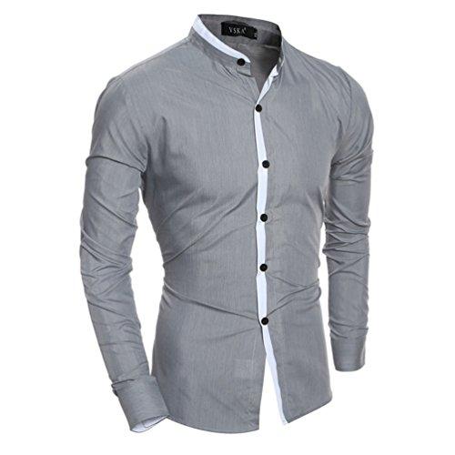 Kostüm 1690 (Langarm Shirt bestickt Koreanischen alle-match Metrosexual Persönlichkeit Collar Shirt, grau,)
