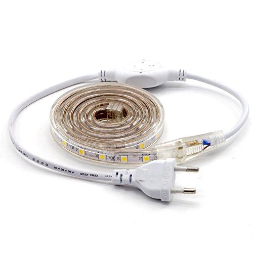 Preisvergleich Produktbild ALOTOA LED Streifen Lichtband, 1M 60 LEDs/M SMD 5050 Warm Weißer 3000K, 230V IP68 LED Strip Leiste Wasserdichte Beleuchtung für Haus,Garten Dekoration Lichtband Beleuchtung(1m,warm white)