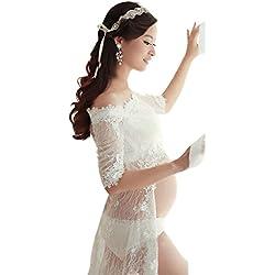 Broadroot 3pcs Weißes Spitzenkleid-Schwangere Fotografie Requisiten-Extravagantes Langes Kleid