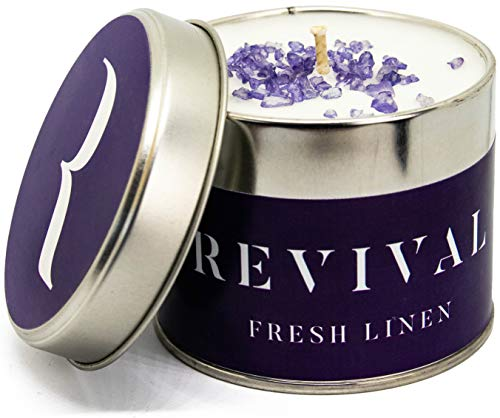 Vela vegana de lujo relajante - Fresh Linen - calme y levanta - Con fragancias románticas y aromáticas y aceites esenciales naturales de ámbar, jazmín, lila y cítricos - Tiempo de combustión 45 horas