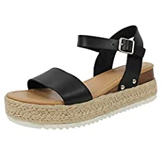 b856087c95b Womens Ladies Flatform Cork Espadrille Wedge Sandals Ankle Lace Up ...