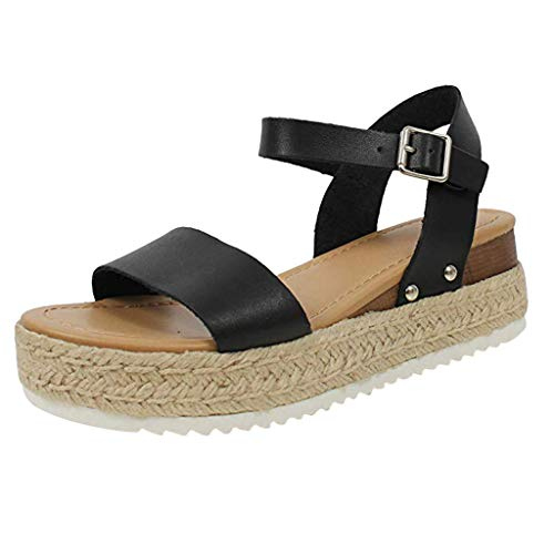 koperras Womens Platform Sandals,Women's Fashion Casual Buckle Strap Solid Open Toe Thick Wedge Shoes -