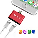 2 in 1 Lightning to Dual Lightning Adapter, ADTRIP Dual Lightning Audio Charge Sync Data Splitter Adapter for iPhone 7/7 Plus, Compatible for iOS 10.3