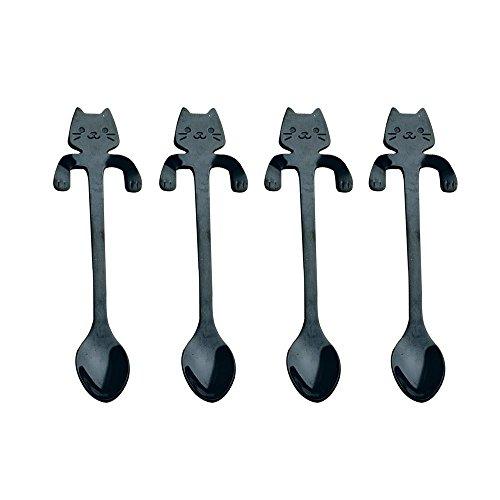 AOLVO Cat Cuillères en Acier Inoxydable, Mignon Mini mélanger à Suspendre Cuillères à Dessert Cuillères à thé café Mixer pelles Vaisselle Couverts Gadgets Lot d'outils de Cuisine