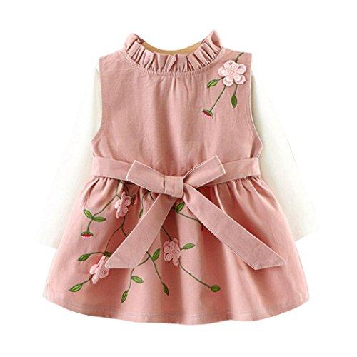 Manadlian Mode Kleinkind Säugling Kind Baby Mädchen Blumen Bowknot Prinzessin Kleid T-Shirt Zweiteiliger Anzug (12M, Rosa)