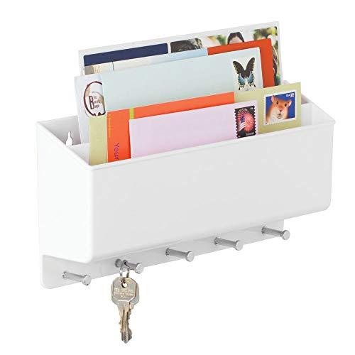 Mdesign portalettere e appendichiavi - bacheca chiavi con 5 ganci e 2 scomparti portariviste - il modo più pratico per organizzare chiavi, posta e giornali - bianco