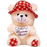 LVS TOYS Stuffed Soft PIush Toy Love Teddy Bear with Red Cap (30 cm)