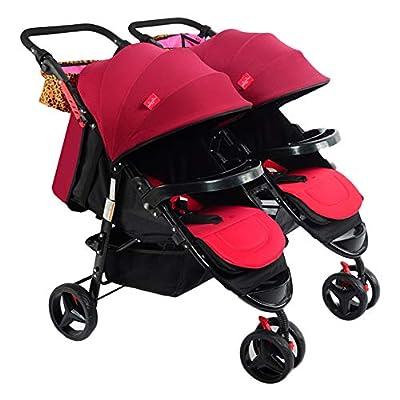 Twin baby stroller zxmpfg Los cochecitos de bebé Gemelos Son compactos y fáciles de Plegar para facilitar el Viaje. Se Pueden Dividir en Dos cochecitos Individuales, Asientos reclinables Multiusos