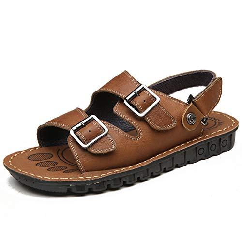 Herren Open Toe Sandalen Einstellbare Größe Echtes Leder Strand Sandalen für Herren Pool Schuhe Wandern Athletic Slipper Größe 37-51,Brown,49 Athletic-open-toe-sandalen