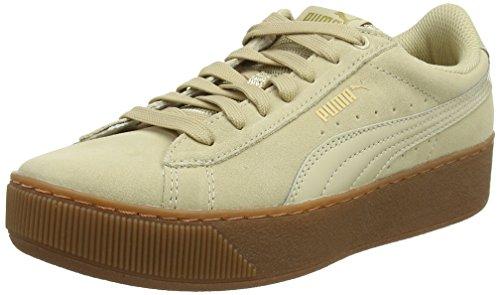 Puma Damen Vikky Platform Sneaker, Beige (Pebble), 42 EU (Leder-plattform Beige)