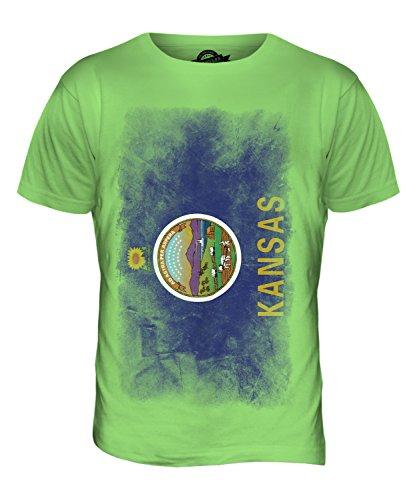 CandyMix Bundesstaat Kansas Verblichen Flagge Herren T Shirt Limettengrün