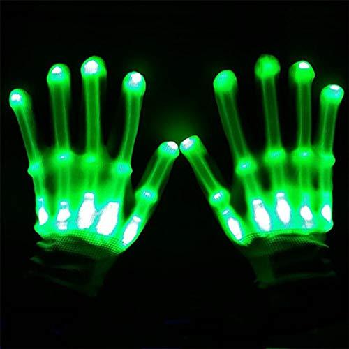 LED-Skeletthandschuhe, 1 Paar mehrfarbige LED-Handschuhe für Clubs für Erwachsene, Raves, Festivals, Halloween, Lagerfeuerabende, Partys, Spiele,Green