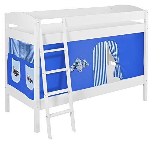 Lilokids Etagenbett IDA 4105-Teilbares Systembett mit Vorhang und Lattenroste Kinderbett Holz weiß 208 x 98 x 150 cm
